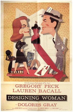 Designing Woman. Vincente Minnelli, George Wells Dore Schary, Lauren Bacall Gregory Peck, director, producer, screenwriter, starring.