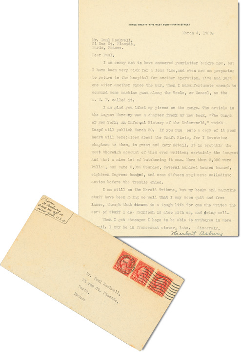 Typed Letter Signed from 1928, regarding The Gangs of New York, newspaper work, and other topics. Herbert Asbury.
