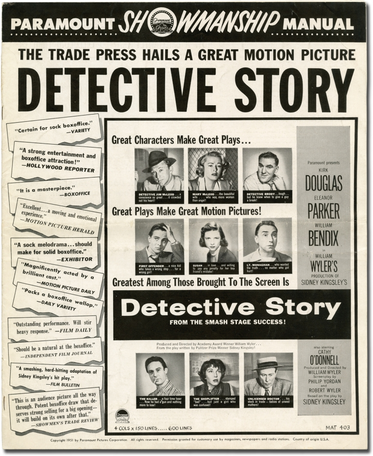 Detective Story. William Wyler, director, Sidney Kingsley, play, screenwriter, Eleanor Parker Kirk Douglas, George Macready, Lee Grant, starring, Philip Yordan, Robert Wilder.