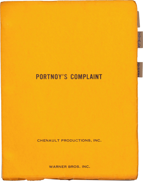 Portnoy's Complaint. Philip Roth, Ernest Lehman, novel, screenwriter.