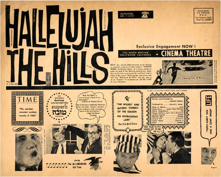 Hallelujah the Hills with Scorpio Rising. Adolfas Mekas, screenplay director, Kenneth Anger.