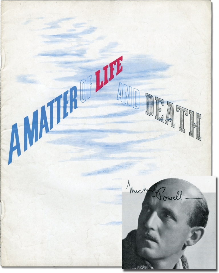 A Matter of Life and Death. Michael Powell, director, Emeric Pressburger, screenwriter, Kim Hunter David Niven, Raymond Massey, Roger Livesey, Richard Attenborough, starring.