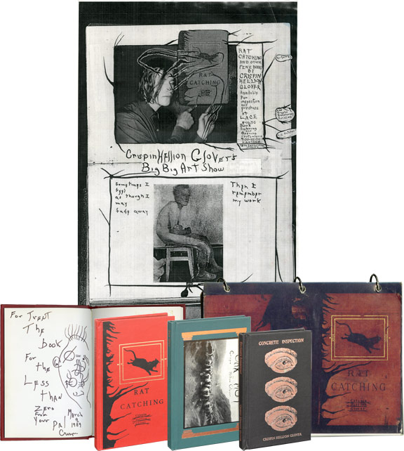 A unique collection of inscribed first editions and ephemera by Crispin Glover, from the collection of filmmaker Trent Harris, including Rat Catching, Oak Mot, and Concrete Inspection. Crispin Glover.