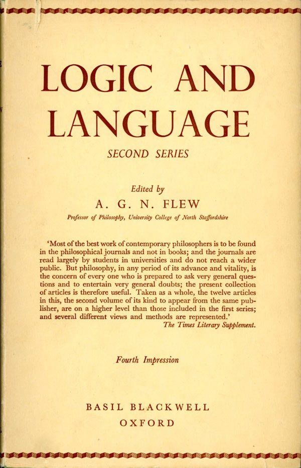 Logic and Language: Second Series. A. G. N. Flew.