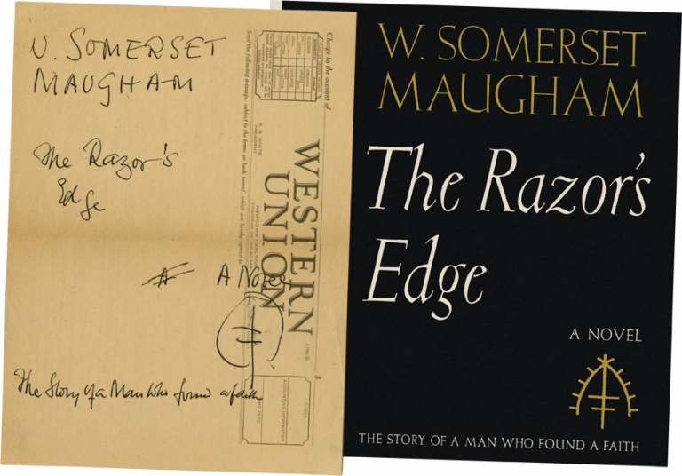 "Author's holograph ink sketch for the design of the jacket for ""The Razor's Edge"" W. Somerset Maugham."