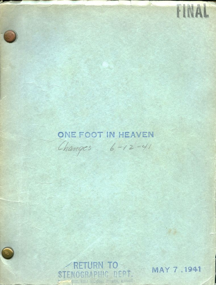 One Foot in Heaven. Irving Rapper, Casey Robinson, Hartzell Spence, Beulah Bondi Fredric March, director, screenwriter, novel, starring.