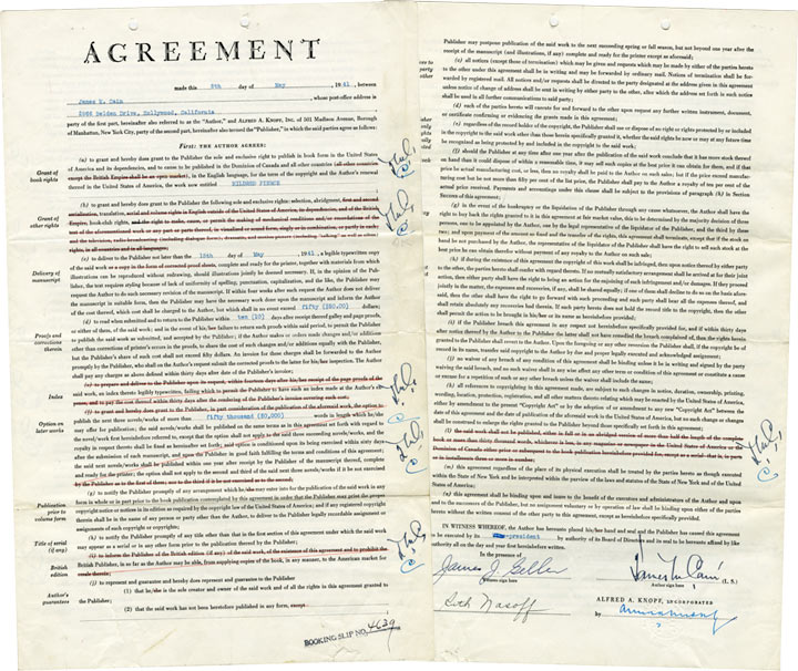 """Original Book Contract for """"Mildred Pierce,"""" signed by Cain and Knopf. James M. Cain, Alfred A. Knopf."""