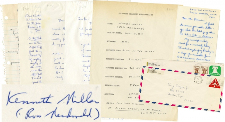 Archive of correspondence from the author. Ross Macdonald, Kenneth Millar.