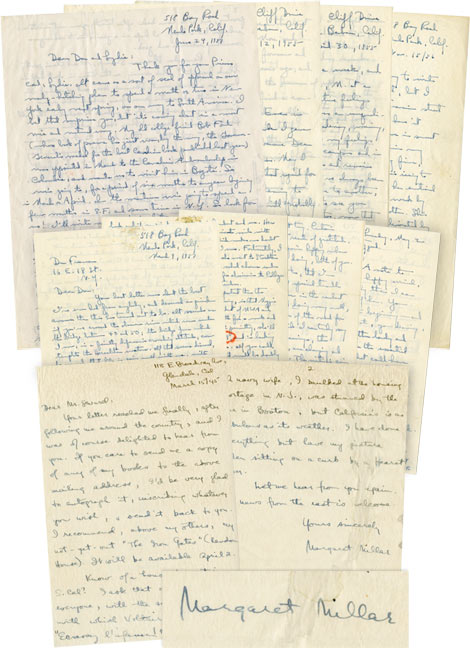 An archive of 6 autograph letters signed to book illustrator and friend Don Freeman, 1956-1957, and academic Frank Stirling. Ross Macdonald, Kenneth Millar.