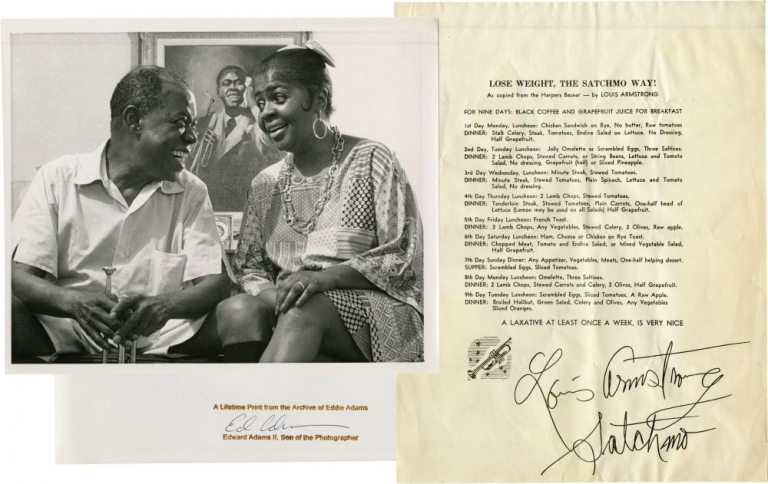 "Photograph of Louis Armstrong with trumpet and with his wife, Lucille together with ""Lose Weight the Satchmo Way!"" diet plan, signed by Armstrong. Louis Armstrong, Eddie Adams."