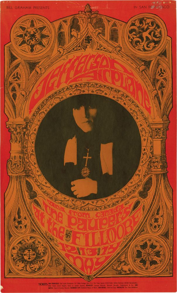 Jefferson Airplane and The Paupers at the Fillmore West, May 12-14, 1967. Jefferson Airplane, Bonnie MacLean, artist.