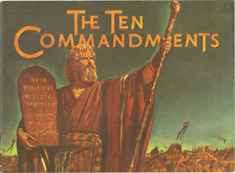 The Ten Commandments. Cecil B. Demille, director, Yul Brynner Charlton Heston, Yvonne De Carlo, Vincent Price, Edward G. Robinson, Anne Baster, starring.