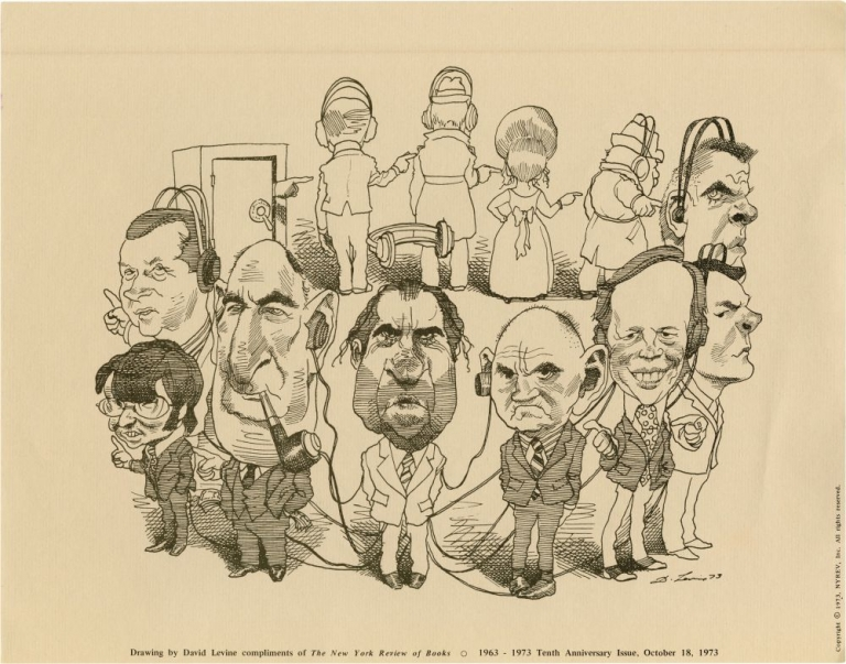 "Broadside depicting Richard Nixon, Spiro Agnew and others ""passing the buck,"" issued in honor of the 10th anniversary of the New York Times Review of Books. Richard Nixon, David Levine, cartoonist, Watergate."