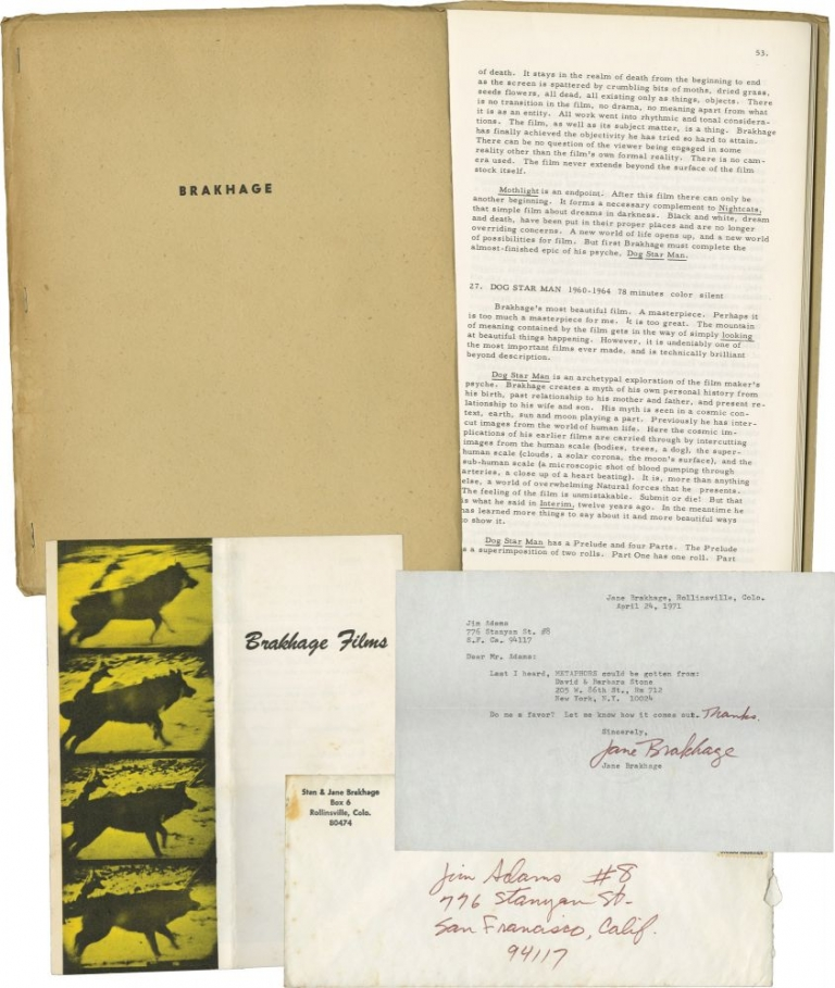 """Brakhage"" in Film-Makers' Cinematheque Monograph Series No. 2, with typed note signed from Jane Brakhage. Stan Brakhage, Dan Clark."