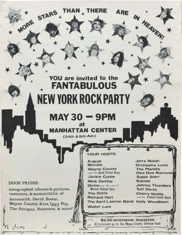 Fantabulous New York Rock Party, Manhattan Center in New York, May 30, 1976. Wayne County Blondie, Holly Woodlawn, The Dolls, Mink DeVille, Divine.