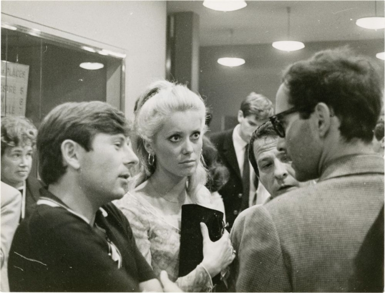 Original candid photograph of Roman Polanski, Jean-luc Godard, and Catherine Deneuve at Cannes, 1965. Claude Schwartz, photographer, Jean-luc Godard Roman Polanski, directors, Catherine Deneuve, actress.