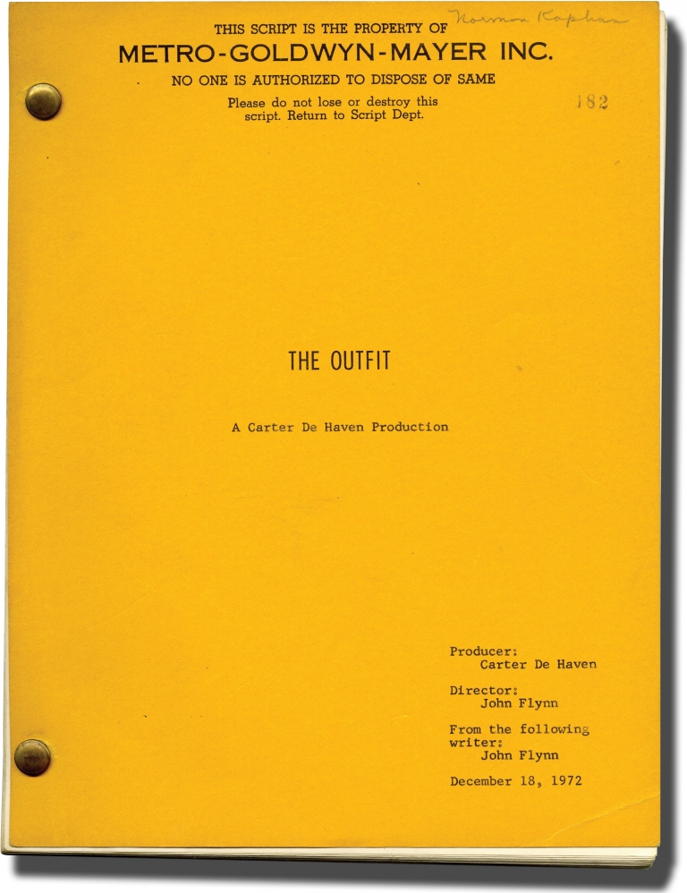 The Outfit. Donald E. Westlake, Richard Stark, novel, John Flynn, screenwriter director, Karen Black Robert Duvall, Robert Ryan, Joe Don Baker, starring.