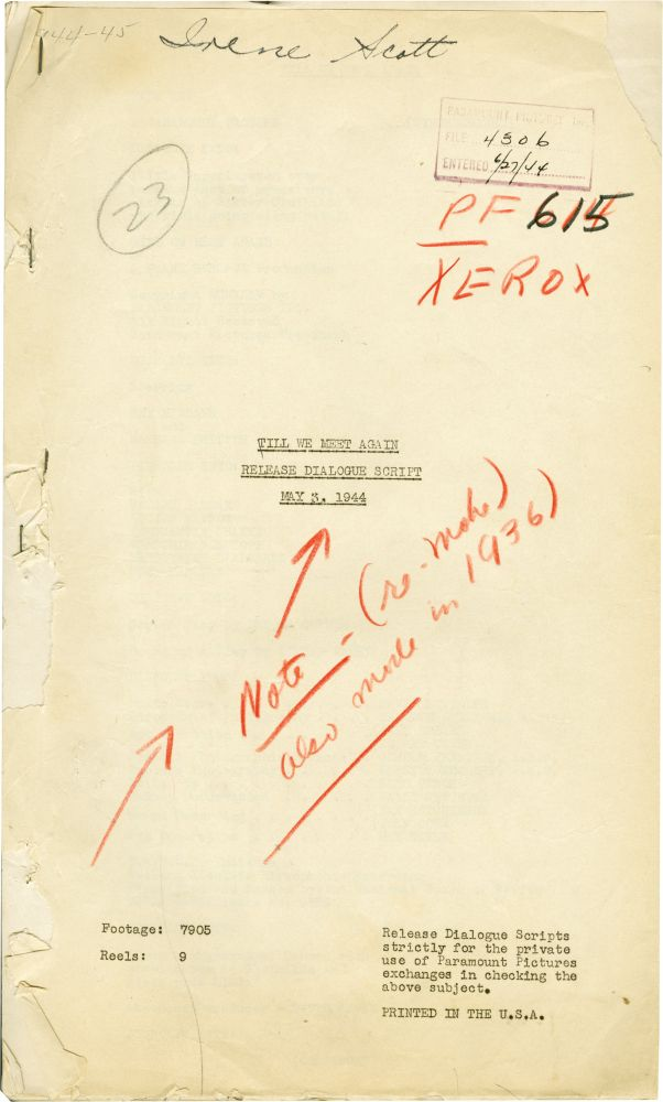Till We Meet Again. Frank Borzage, Lenore J. Coffee, Alfred Maury, director, screenwriter, playwright.