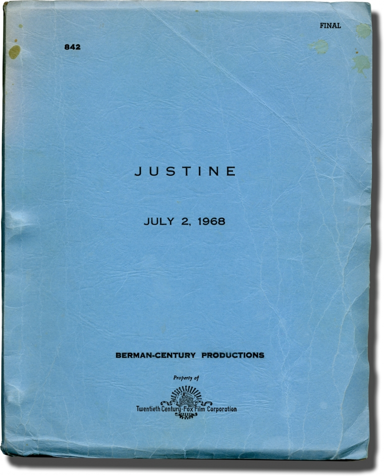 Justine. George Cukor, Joseph Strick, Lawrence Durrell, Lawrence B. Marcus, director, novel, screenwriter.