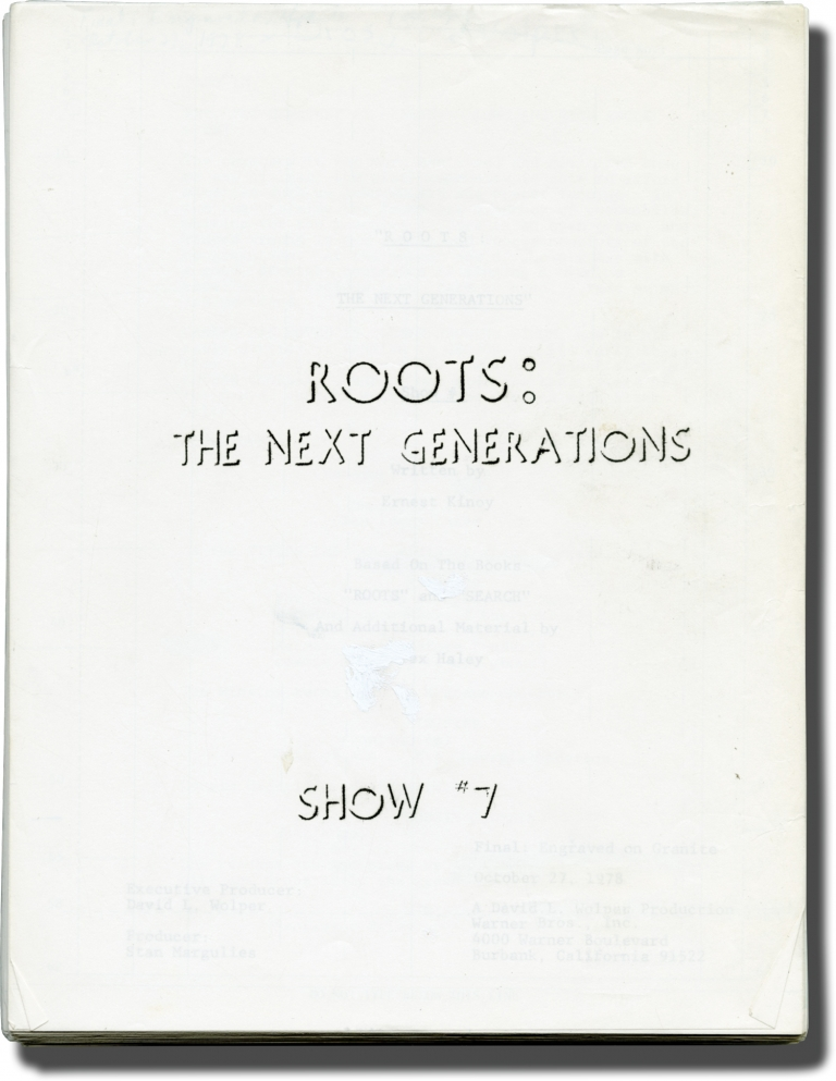 Roots: The Next Generations: Show #7. John Erman, Alex Haley, Ernest Kinoy, Marlon Brando Barbara Barrie, Lee Chamberlin, James Broderick, director, novel, screenwriter, starring.
