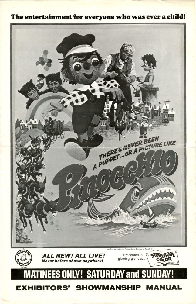 An archive of 3 pressbooks for foreign children's films made between 1957-1967, featuring Santa Claus, Pinocchio, and Tom Thumb. Film Pressbooks.