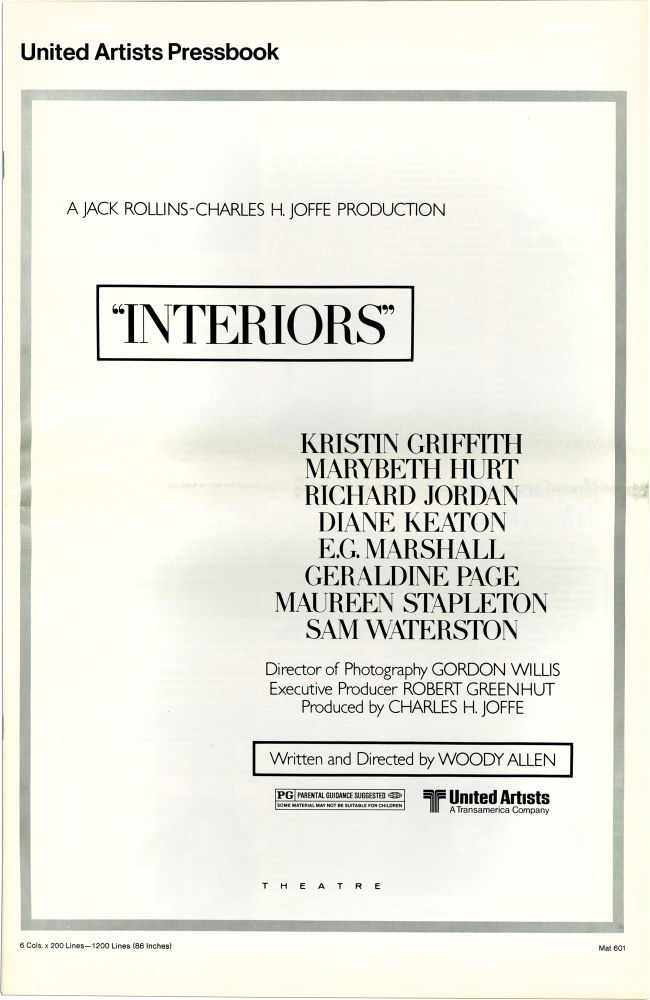 Interiors. Woody Allen, screenwriter director, Mary Beth Hurt Kristin Griffith, Diane Keaton, Richard Jordan, starring.