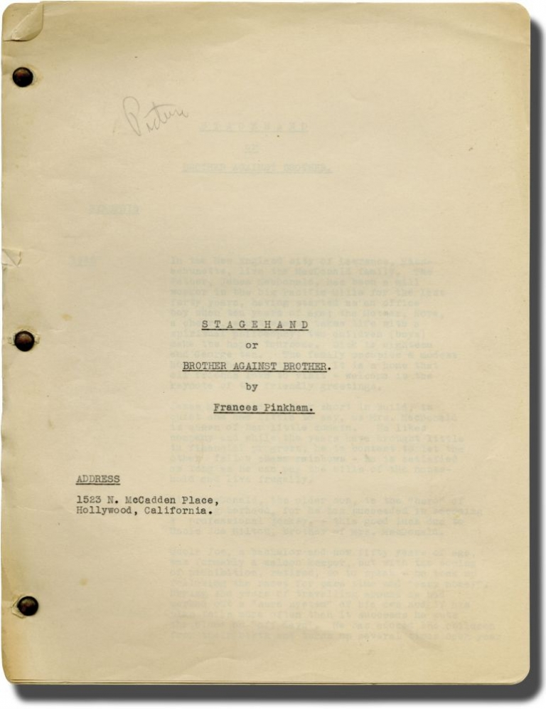 Stagehand, or Brother Against Brother. Frances Pinkham, screenwriter.