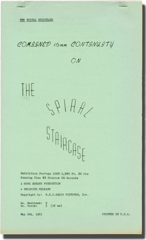 The Spiral Staircase. Ethel Lina White, Robert Siodmak, Mel Dinelli, George Brent Dorothy McGuire, Elsa Lanchester, Rhonda Fleming, Ethel Barrymore, author, director, screenwriter, starring.