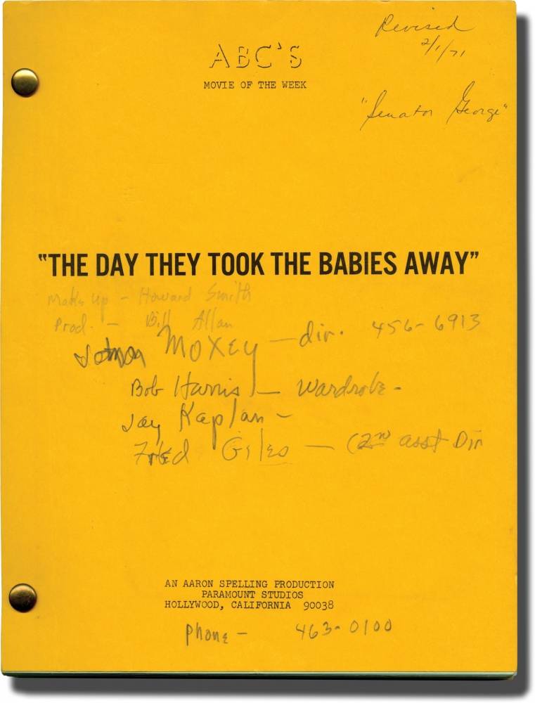 The Last Child [The Day They Took the Babies Away]. John Llewellyn Moxey, Michael Cole Peter S. Fischer, Ed Asner, Van Heflin, director, screenwriter, starring.