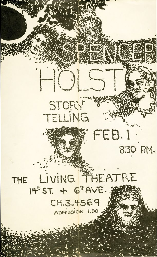 25 Stories and Storytelling Flyer. The Living Theatre, Spencer Holst.