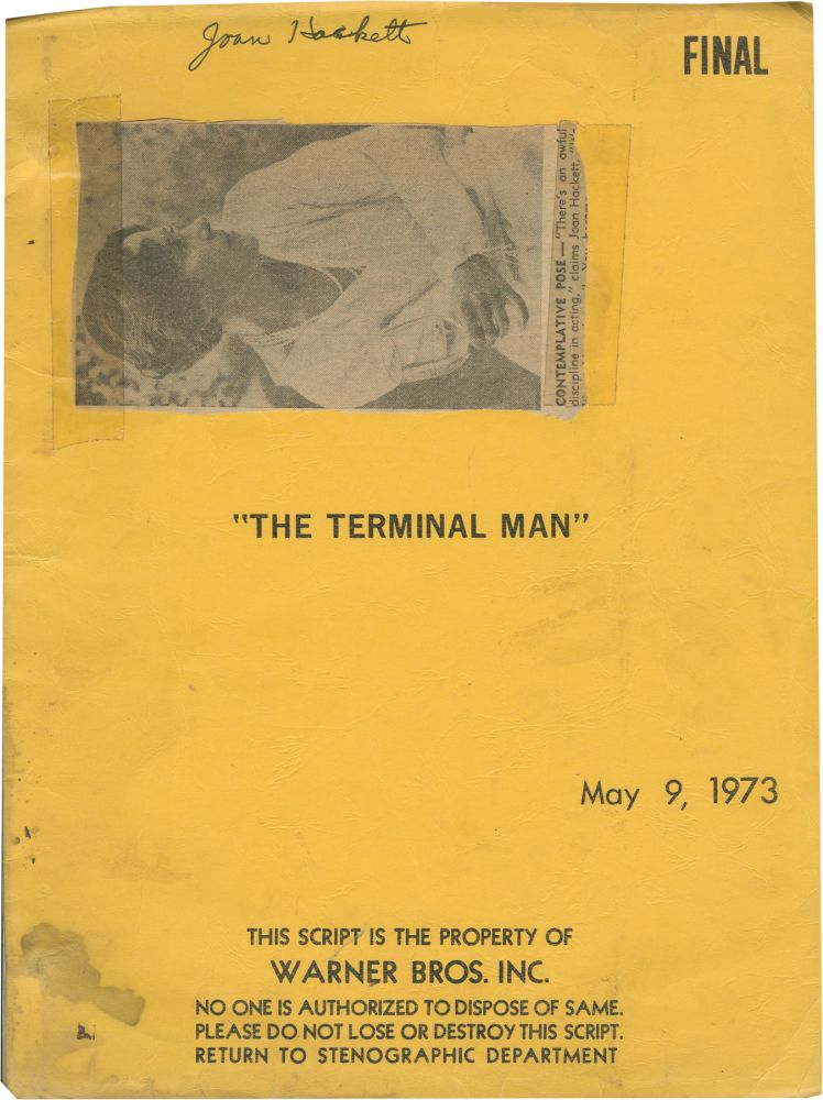 The Terminal Man. Mike Hodges, screenwriter director, producer, Michael Crichton, novel, Joan Hackett George Segal, starring.