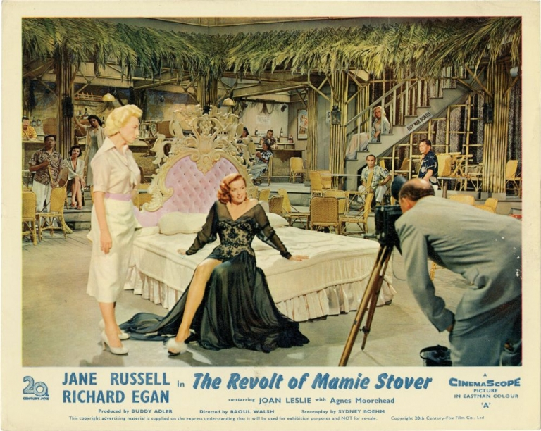The Revolt of Mamie Stover. Raoul Walsh, William Bradford Huie, Sydney Boehm, Richard Egan Jane Russell, Agnes Moorehead, Joan Leslie, director, novel, screenwriter, starring.