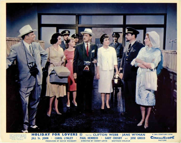 Holiday for Lovers. Henry Levin, Ronald Alexander, Luther Davis, Jane Wyman Clifton Webb, Carol Lynley, Jill St. John, director, play, screenwriter, starring.