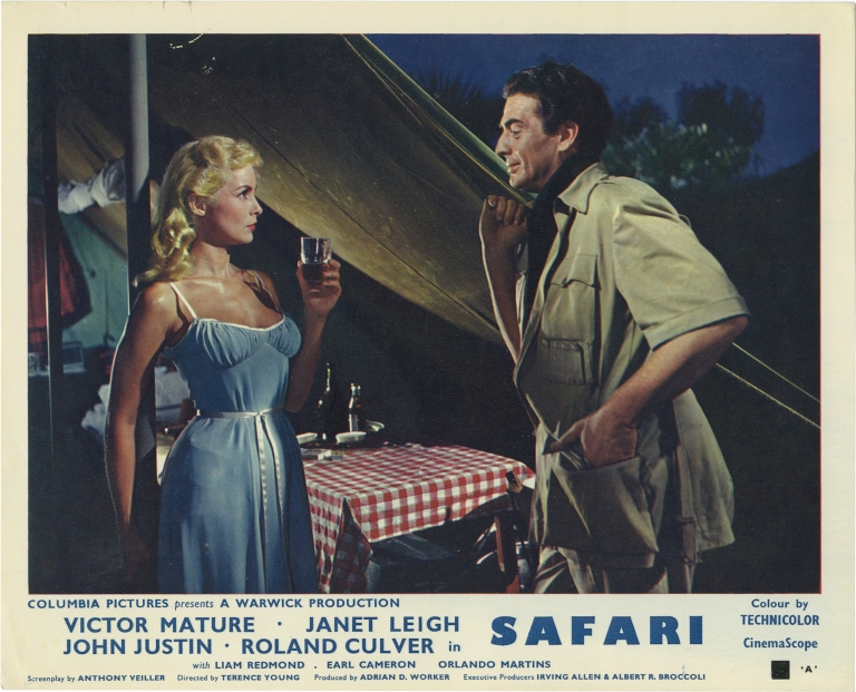 Safari. Terence Young, Anthony Veiller, Janet Leigh Victor Mature, John Justin, director, screenwriter, starring.