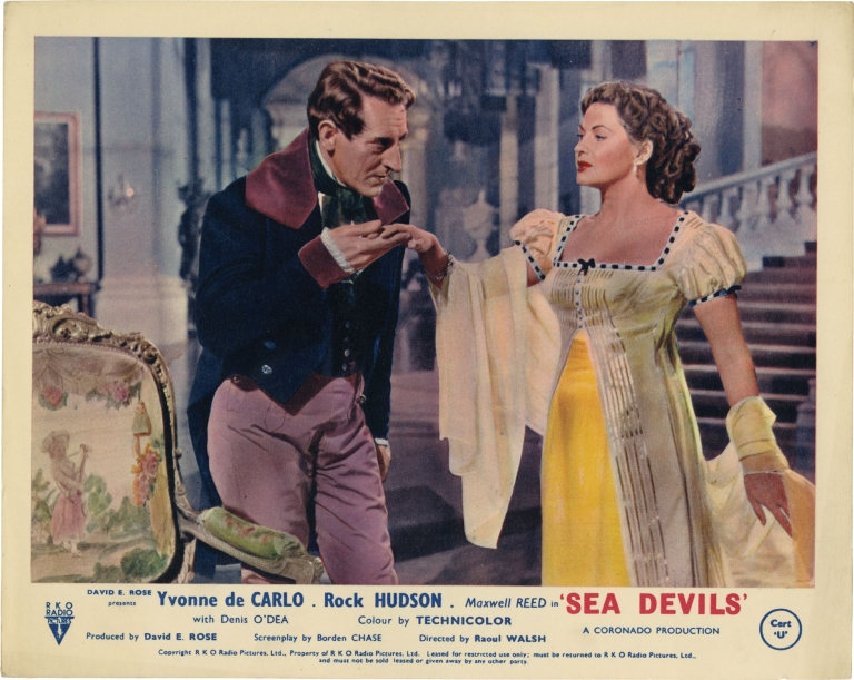 Sea Devils. Raoul Walsh, Victor Hugo, Arthur Evans, Borden Chase, Rock Hudson Yvonne De Carlo, Denis O'Dea, Maxwell Reed, director, novel, still photographer, screenwriter, starring.