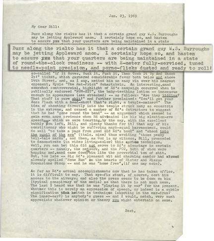 Letter to William Burroughs from Terry Southern. Terry Southern.