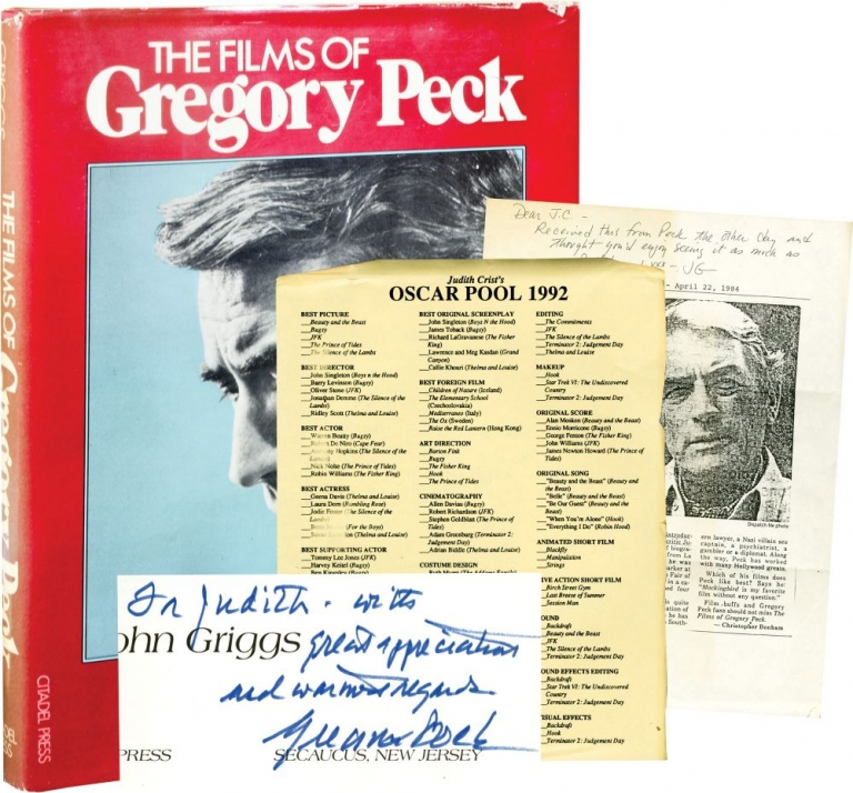 The Films of Gregory Peck. John Griggs, author, Judith Crist, introduction.