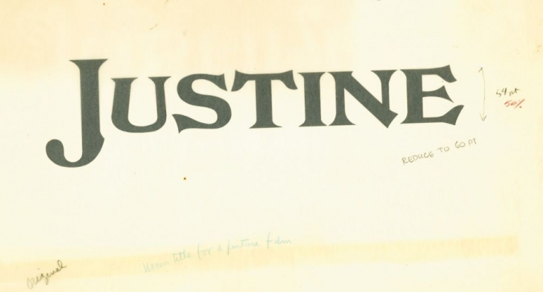 Justine. Harold Adler, George Cukor, Lawrence Durrell, Lawrence B. Marcus, Dirk Bogarde Anouk Aimee, Michael York, letterer, director, novels, screenwriter, starring.