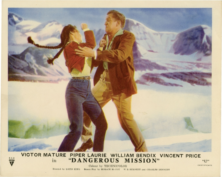 Dangerous Mission. Louis King, W. R. Burnett Horace McCoy, Charles Bennett, Piper Laurie Victor Mature, Vincent Price, William Bendix, director, screenwriters, starring.