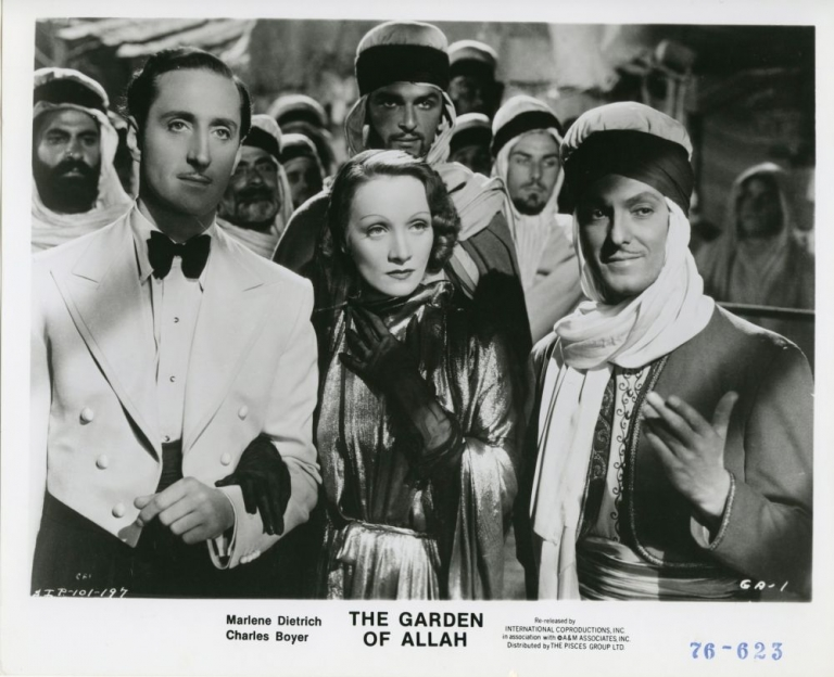 The Garden of Allah. Richard Boleslawski, Robert Hitchens, W. P. Lipscomb, Lynn Riggs, Charles Boyer Marlene Dietrich, C. Aubrey Smith, Basil Rathbone, director, novel, screenwriters, starring.