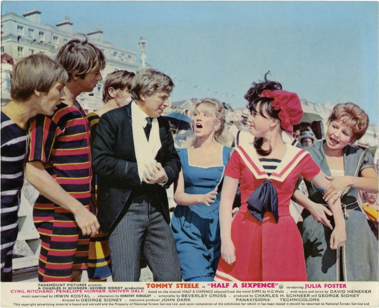 Half a Sixpence. George Sidney, H. G. Wells, Bert Cann, Beverly Cross, Julia Foster Tommy Steele, Penelope Horner, Cyril Ritchard, director, novel, photographer, screenwriter, starring.