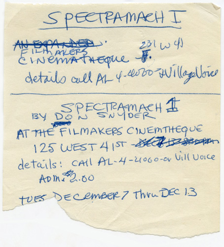 Spectro-Mach 1 production archive. Don Snyder, Angus MacLise John Cale, others, Ralph Metzner, director, contributors.