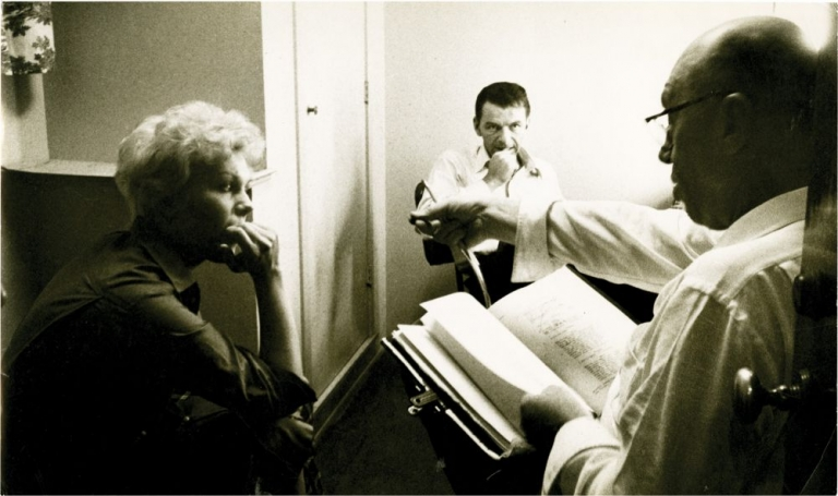 "Frank Sinatra, Kim Novak, and Otto Preminger on the set of ""The Man with the Golden Arm"" Robert Willoughby, Bob, photographer, Otto Preminger, director, Nelson Algren, novel, Kim Novak Frank Sinatra, starring."