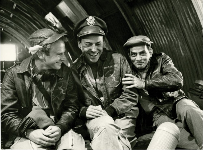 "Alan Arkin, Art Garfunkel, and Martin Sheen on the set of ""Catch-22"" Robert Willoughby, Bob, photographer, Mike Nichols, director, Joseph Heller, novel, Buck Henry, screenwriter, Art Garfunkel Alan Arkin, Martin Sheen, starring."