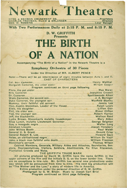 The Birth of a Nation. D. W. Griffth, Raoul Walsh Lilian Gish, director, starring.