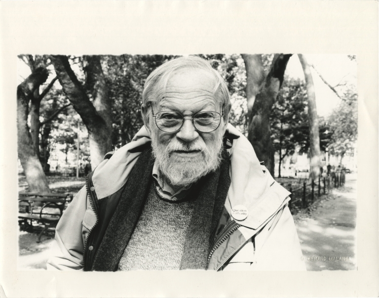 Photograph of Amos Vogel by Gerard Malanga, 2004, signed by Malanga. Gerard Malanga, photographer, Amos Vogel, subject.