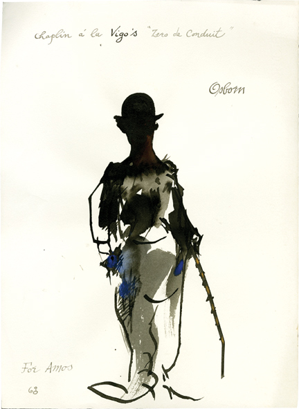 "Ink drawing of Charlie Chaplin a la Vigo's ""Zero de conduit,"" 1968. Amos Vogel, Robert Osborn, artist."