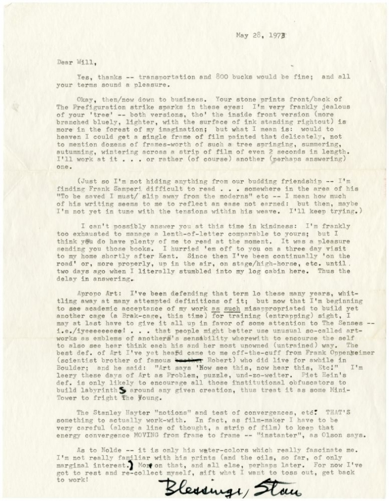 Lengthy typed letter signed from Stan Brakhage to Will Petersen. Stan Brakhage.