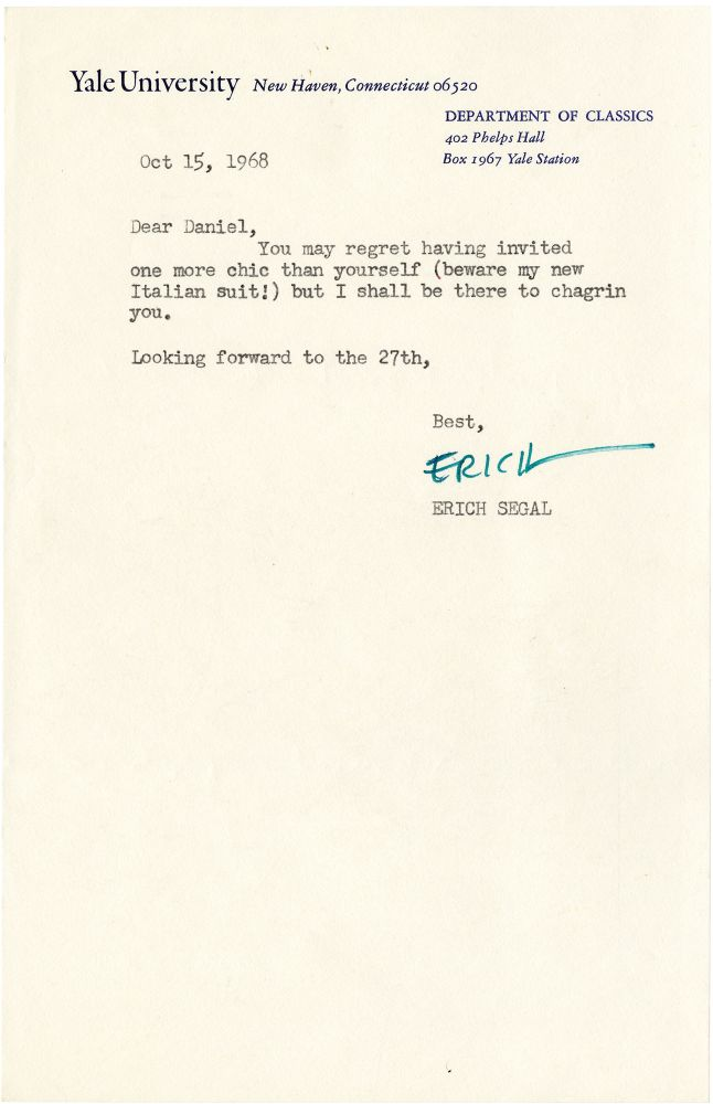 Typed Letter Signed from Erich Segal to Daniel Selznick, 1968. Erich Segal, Daniel Selznick, author, producer.