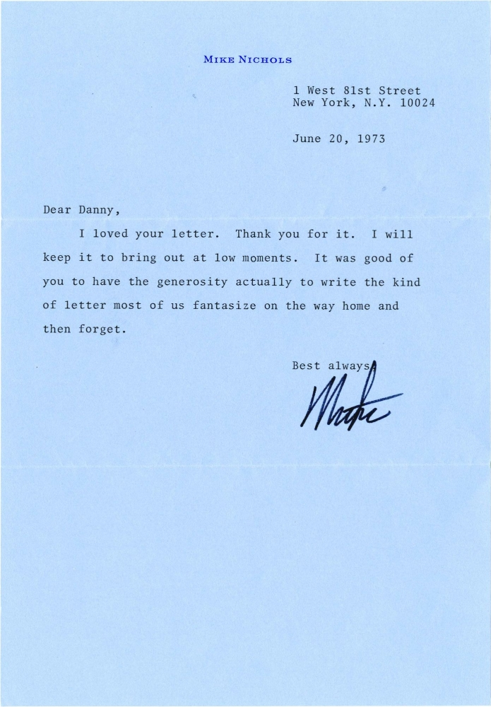 Typed Letter Signed from Mike Nichols to Daniel Selznick, 1973. Mike Nichols, Daniel Selznick, Anton Chekhov, director, producer, play.